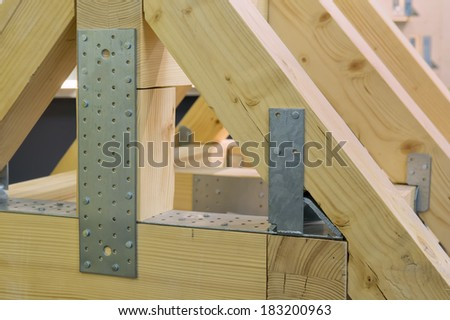 Model of a roof truss - stock photo