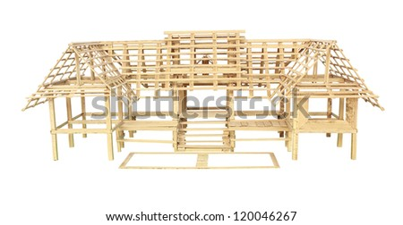 Model of a small wooden house isolated on white - stock photo