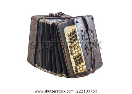 Model of accordion on the white background - stock photo