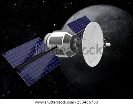 Model of an artificial satellite in the space - stock photo