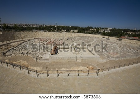 Model of ancient Jerusalem with modern Jerusalem in background - stock photo