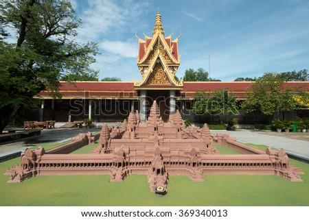 Model of Angkor Wat in the SIlver Pagoda Complex, Phnom Penh, Cambodia - stock photo