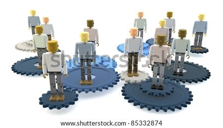 Model of 3D figures on connected blue cogs as a metaphor for a team - stock photo