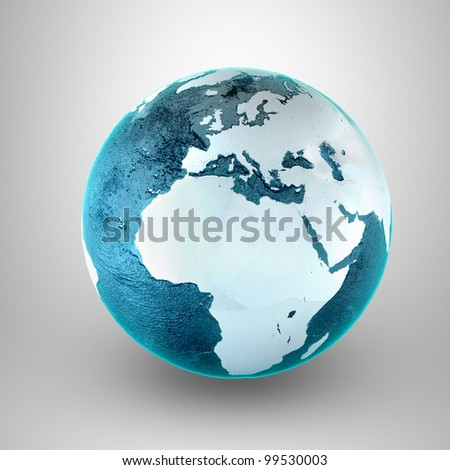 Model of Earth. Conceptual symbol of the Earth. Africa and Europe view. Planet earth model on a gray background. - stock photo