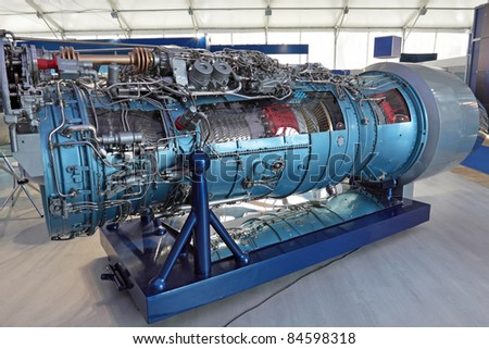 Model of gas turbine engine airplane in the section - stock photo