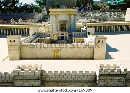 Model of Jerusalem city, detail - stock photo
