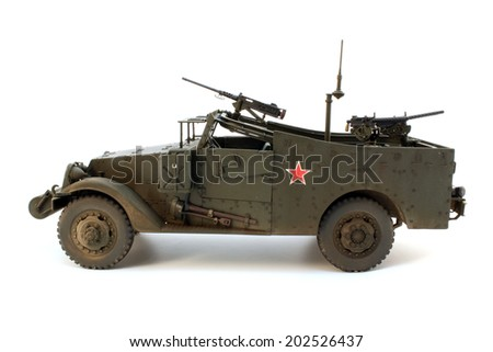 Model of M3 Scout Car left side view - stock photo