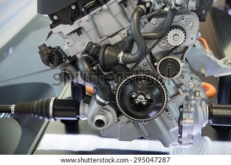 Model of new hybrid car engine - stock photo