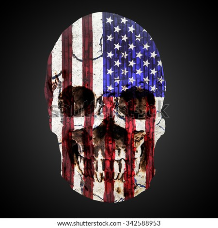 model of the human skull wrap with USA flag - stock photo