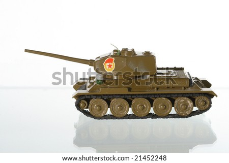 Model of the Soviet tank on a white background - stock photo