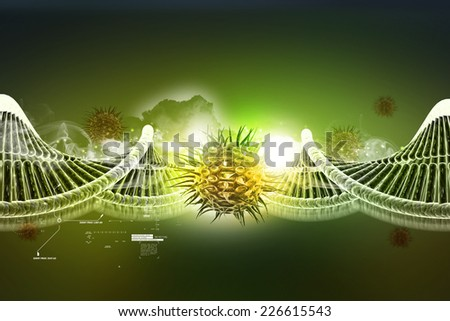 model of twisted chrome DNA chain and virus - stock photo