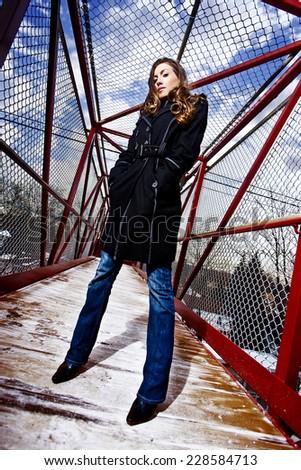 Model on overpass - stock photo