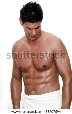 model photographed in the studio, bare-chested - stock photo