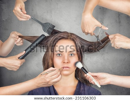 Model ready for make-up and hair cut - stock photo