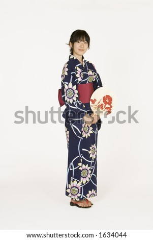 Model Release 302   Asian teen dressed in a Kimono - stock photo