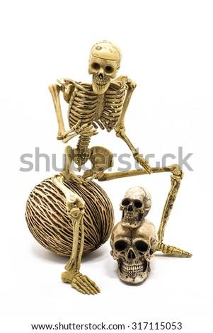 Model skeleton sitting on ball, Isolated white background - stock photo