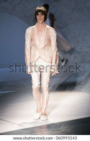 Model walks the runway at the Threeasfour fashion show during New York Fashion Week Spring Summer 2016 at Pier 59 on September 14, 2015 in New York City - stock photo