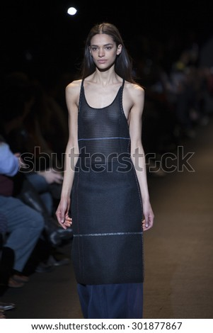 Model walks the runway during Naomi Campbell's Fashion For Relief Show at Mercedes Benz Fashion Week Fall Winter 2015 in New York on February 14, 2015 - stock photo