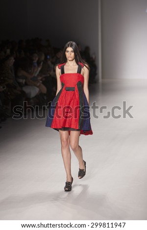 Model walks the runway for Athena Chuang from Taipei during the Asian Fashion Collection Show during Mercedes Benz Fashion Week Fall Winter 2015 at the Lincoln Center in New York on February 14 2015 - stock photo