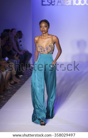 Model walks the runway for Ese Azenabor Spring/Summer Fashion Show 2016 during New York Fashion Week at the Affinia Hotel on September 14, 2015 in New York City - stock photo