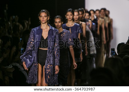 Model  Wanessa Milhomem walks the runway during Dennis Basso's Fashion Show at Skylight Stdios Moynihan Station for New York Fashion Week Spring/Summer 2016 on September 15th, 2015 at New York, NY - stock photo