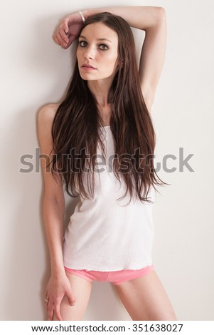 Model wearing white and pink - stock photo