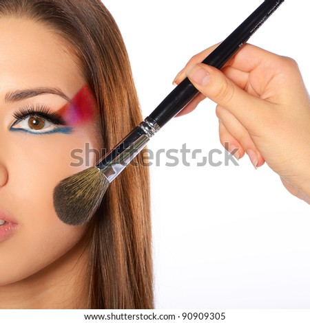 model, which makes makeup - stock photo