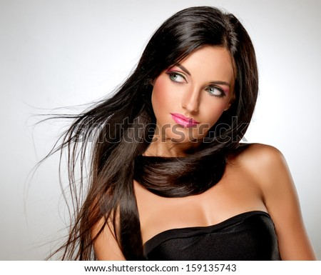 Model with flying hair and trendy makeup - stock photo