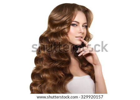 Model Haircut : Model with long hair. Waves Curls Hairstyle. Hair Salon. Updo. Fashion ...