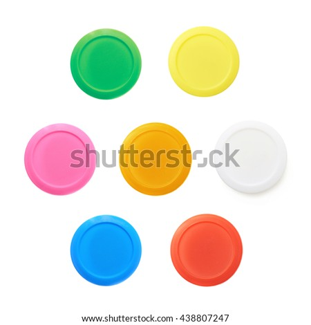 Modeling clay in a plastic container isolated over the white background, set of seven different colors - stock photo