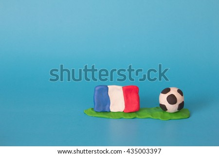 Modeling clay of France Flag with football , National Football Team,Euro 2016 - stock photo