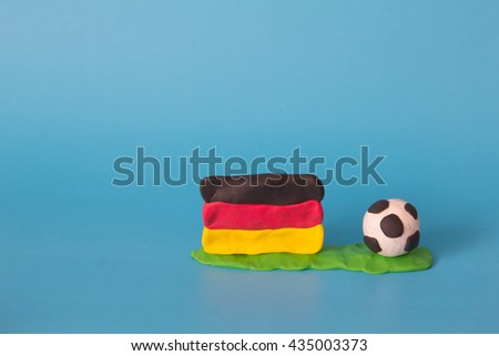 Modeling clay of Germany Flag with football , National Football Team,Euro 2016 - stock photo