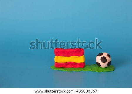 Modeling clay of Spain Flag with football , National Football Team,Euro 2016 - stock photo