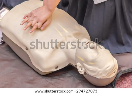 modeling of dummy used in CPR training. - stock photo