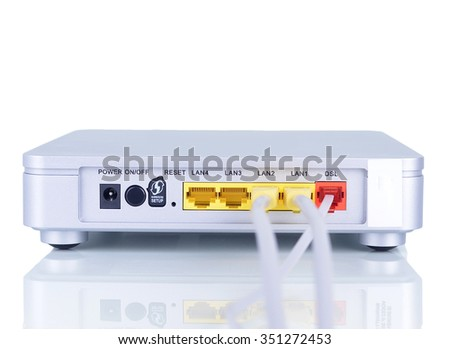 Modem router network with cable isolated - stock photo