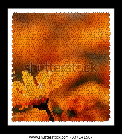 Modern abstract art bright blots and splashes in  black frame - stock photo