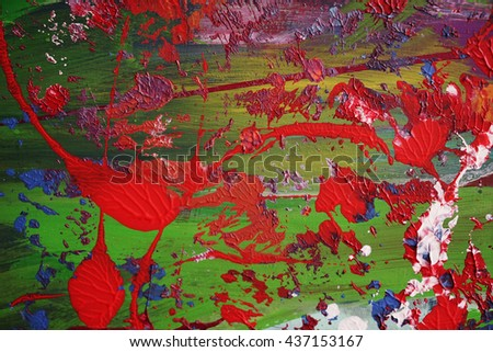Modern abstract expressive backgrounds, splashes of paint, red green,colorful - stock photo