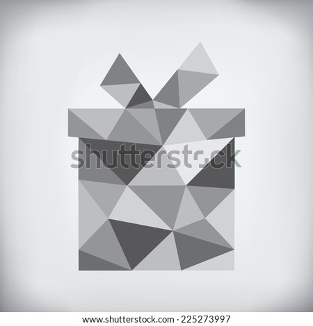 Modern abstract style - origami paper holiday gift box design  - stock photo