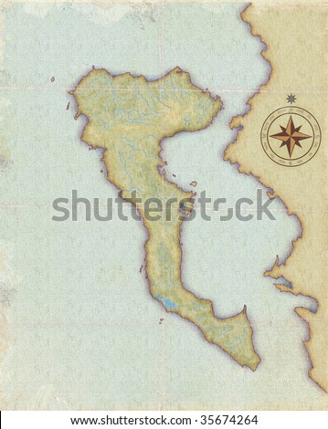 Modern age-old map of Corfu - stock photo