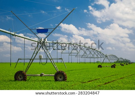 Modern agricultural irrigation system - stock photo