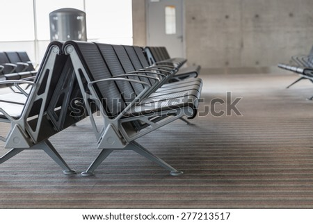 Modern Airport Lounge - Empty Seat Rows - stock photo