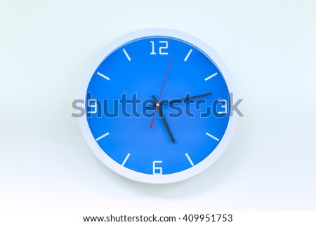 Modern analog wall clock isolate on white background.  - stock photo