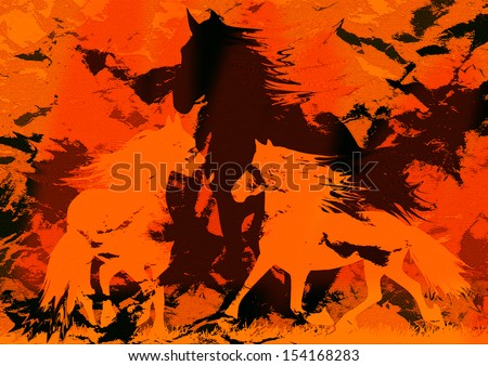 modern and digital painting of horses,vintage computer generated background with horses - stock photo