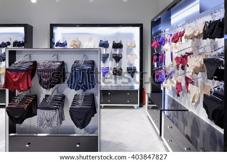 modern and fashionable interior of underwear shop - stock photo