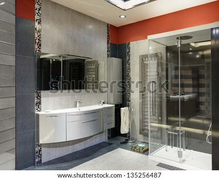 modern and luxury bathroom with a big shower - stock photo