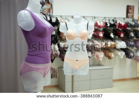 Modern and luxury shop of  underwear. Underwear on mannequins  - stock photo