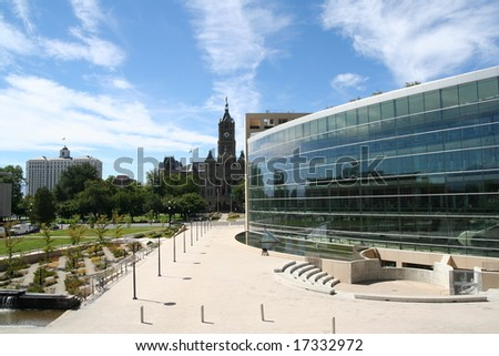 Modern and old buildings; Salt Lake City - stock photo