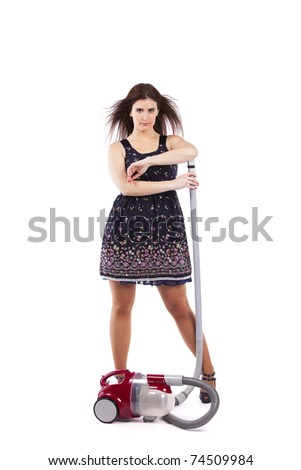 Modern and sexy young housewife posing with the vacuum cleaner (isolated on white) - stock photo