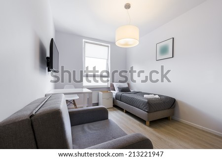 Modern and small sleeping room interior design in scandinavian style - stock photo