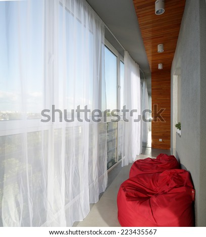 modern and stylish interior of european balcony - stock photo